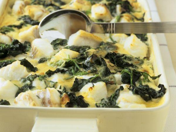 Ovenschotel met schelvis en spinazie - Libelle Lekker!