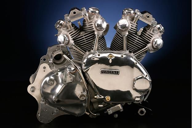A V-twin from the Vincent Motorcycle Company (1928 - 1956).  The fastest motorcycles of its day, plus another 17 years after its demise.