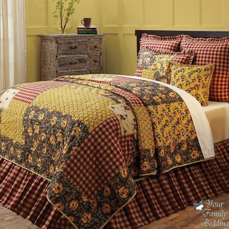 Country Patchwork Quilts Red Country Cottage Floral