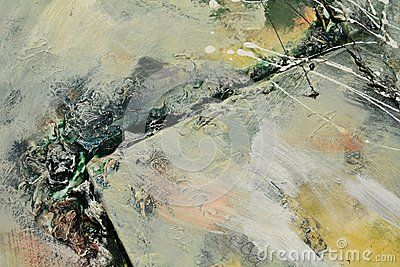 Canvases, green oil painting with hard strokes.