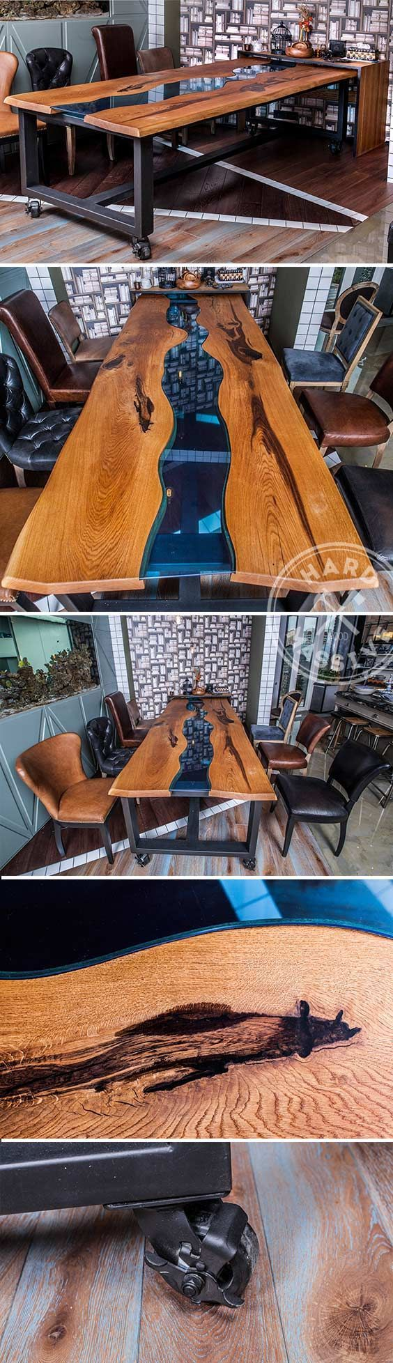 Natural edge dining table w steel hairpin legs from impact imports of - The Large Dining Table For The Modern Kitchen Oak Slabs With Live Edge And Blue Glass Base Metal And Wheels
