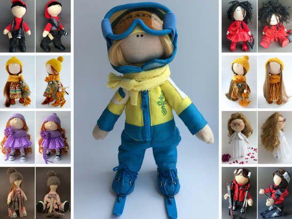 Ski doll Bambole Puppen Rag doll Handmade doll Tilda doll Interior doll Muñecas Textile doll Art doll Blue doll Fabric doll by Oksana K