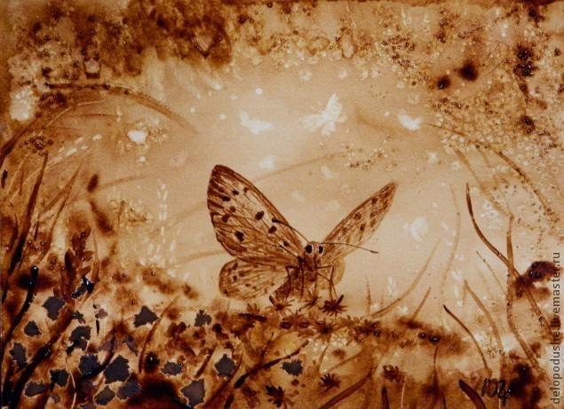 """cafe     Кофейный рисунок на бумаге """"Бабочка"""" - Ярмарка Мастеров - ручная работа, handmade"""