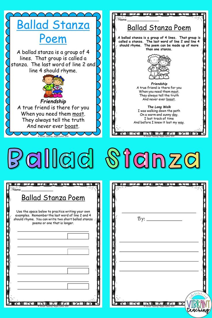 Ballad Stanza Poems For Kids In 2020 Poetry Writing Activities Poetry For Kids Poem Activities