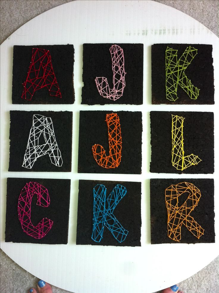 DIY string art initials