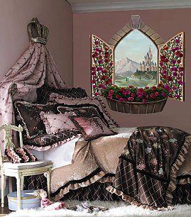 castle window mural-princess bedding-luxury bedding-girls bedrooms
