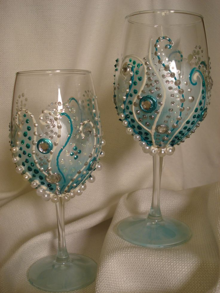 Jeweled Wine Glasses, Fancy Wine Glasses, Aqua Pearl Wine Glasses, Turquoise Jeweled Glasses, Pearl & Jewel Wine Glasses by IrishWineDesign on Etsy