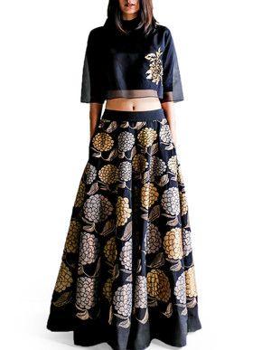 Taika Black Grape Skirt and Crop Top Set | Taika by Poonam Bhagat | BYELORA.COM