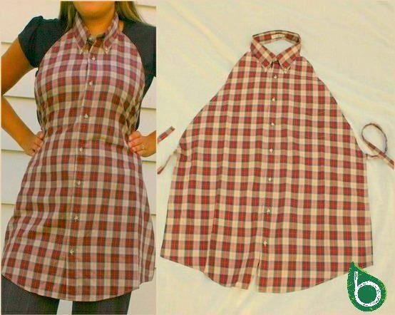Camicia-Grembiule ♫ Ricicla la moda: idee fashion per riutilizzare vecchi vestiti http://www.bioradar.net/bionews/ricicla-la-moda-idee-fashion-per-riutilizzare-vecchi-vestiti-con-il-fai-da-te/