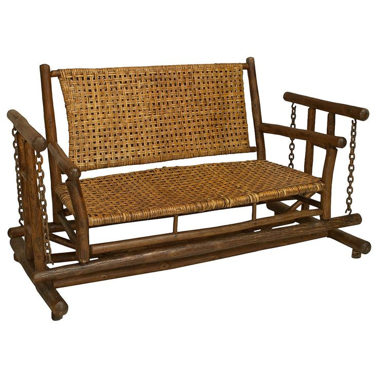 American Old Hickory Porch Glider Loveseat  | From a unique collection of antique and modern loveseats at https://www.1stdibs.com/furniture/seating/loveseats/