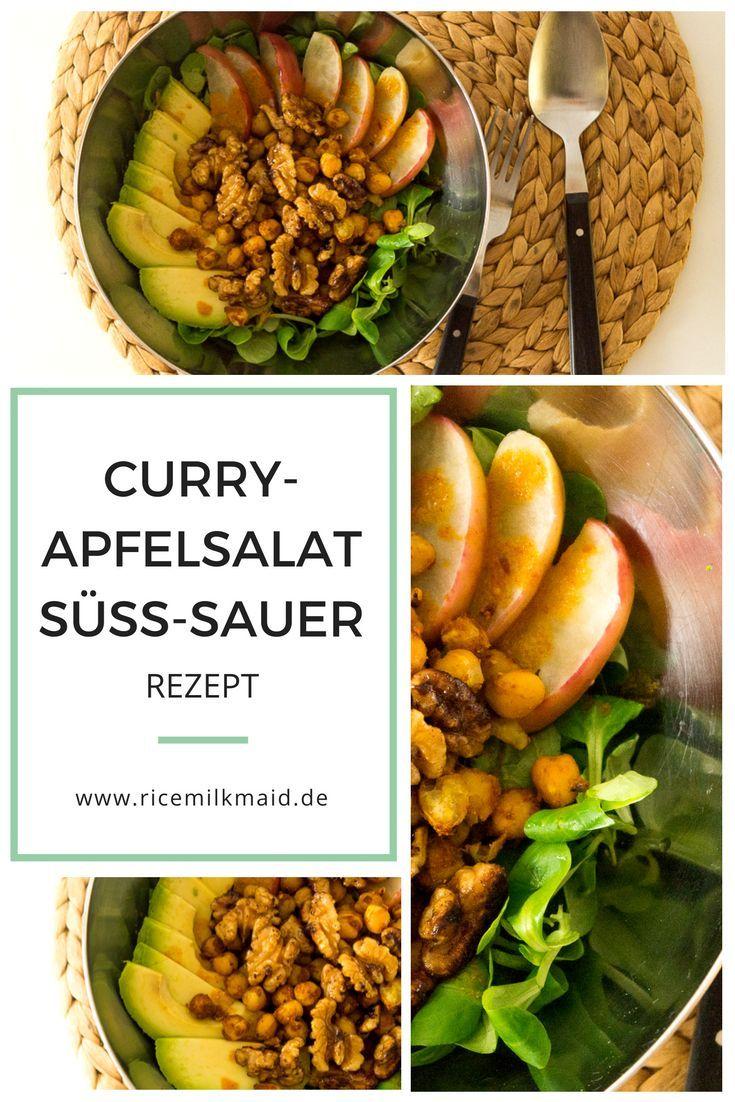 Dieser Curry-Apfelsalat ist eine wahre Geschmacksexplosion - irgendwo zwischen süß, sauer und leicht scharf. Mein Favoriten sind die glasierten Walnüsse und die gebackenen Äpfel. Ein Traum! Speichere dir das Rezept direkt ab oder klick dich zum Beitrag!