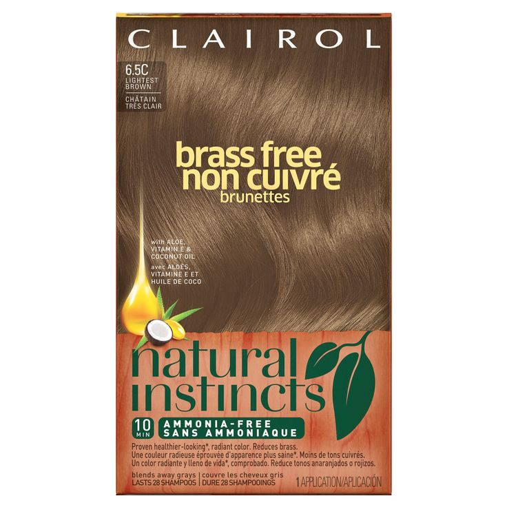 Clairol Natural Instincts Non-Permanent Hair Color - 6.5C Brass Free Lightest Brown - 1 kit