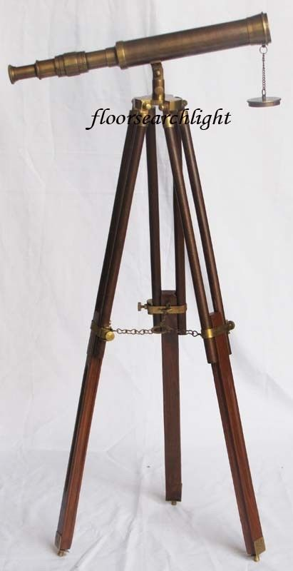 "NAUTICAL COLLECTIBLE SOLID BRASS SINGLE BARREL 14"" TELESCOPE WITH TRIPOD STAND"