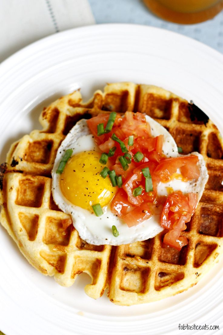 Cheddar Cornmeal Waffles with eggs. Ummm these need to be made. Bring out our in Ed country girls :)