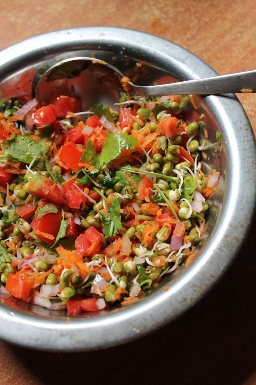 139 best low carb indian vegetarian recipes images on pinterest moong sprouts salad with vegetables forumfinder Images