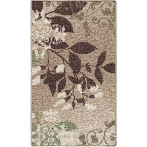 Mainstays Belvedere Nylon Rug, Beige - the green in the bottom left corner will match the green of the sofa.