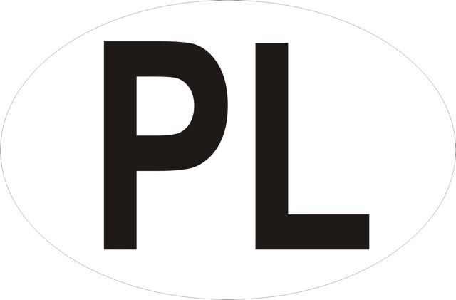 Naklejka PL.Oznaczenie określa, iż pojazd zarejestrowany jest w Polsce. Forma naklejki i oraz wymiary naklejki określa międzynarodowa umowa tzw. Konwencja..