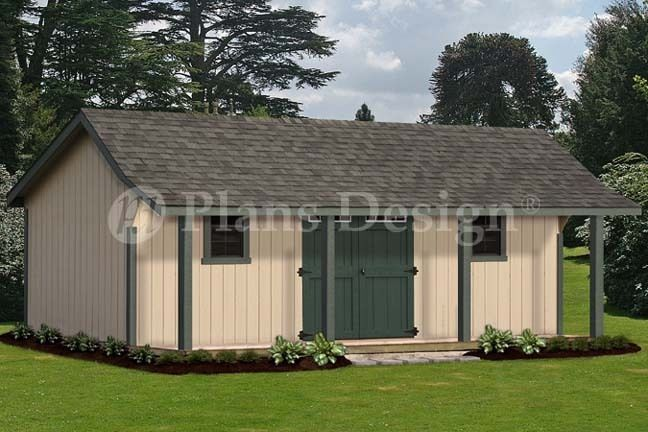 16 X 24 Guest House Storage Shed With Porch Plans Bonnet Roof Style P81624 Plansdesign Shed With Porch Wood Shed Plans Shed Plans