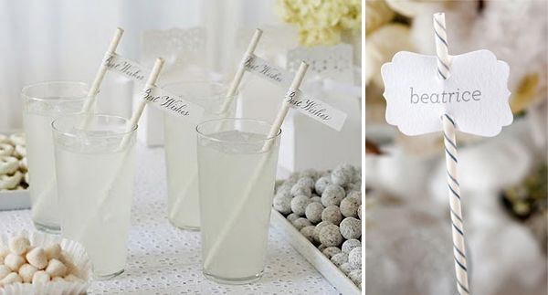 Striped Paper Straws flags as place setting