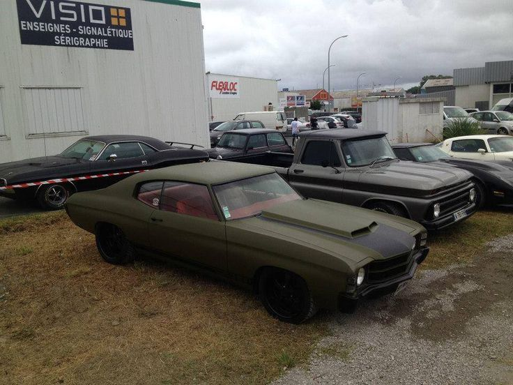 454 Chevy Truck 71 chevelle army green black trim 454 with red interior ...