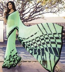 Pastel Green Color Georgette Kitty Party Sarees : Chandani Collection  YF-41399