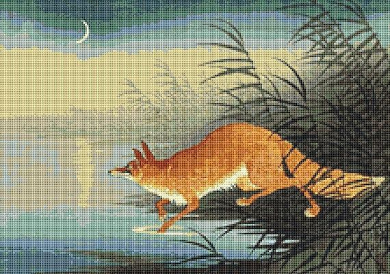 Fox in the Reeds Counted Cross Stitch Pattern / Chart, Ohara Koson, Japanese Fine Art, Instant Download (ABA045)