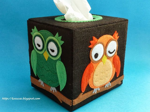 funda para caja de pauelos con bhos felt tissue box with owls
