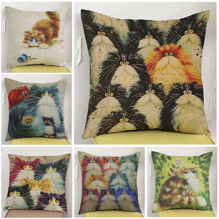 Lovely Colorful Cartoon Cat emoji pillow Linen Cotton Home Decor Sofa Seat Bedroom Decorative Cushion pillowcase almofadas #Affiliate
