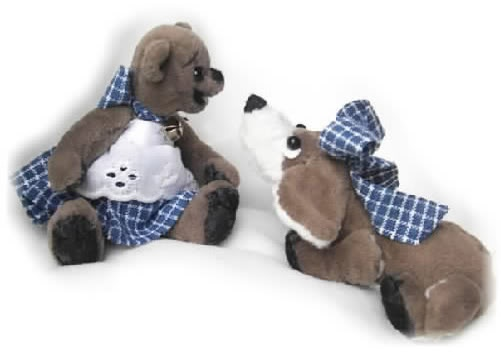 Dressed open-mouth miniature bear and hound dog buddy made of vintage upholstery fabric