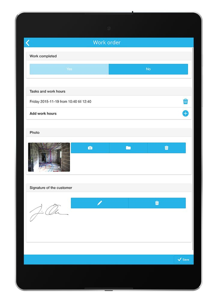 Build your own work order app quick and easy with MoreApp. Add photos and a signature to your digital work order. Import customers and materials and integrate with CRM, planning, or ERP. You only pay for what you use and testing is free!