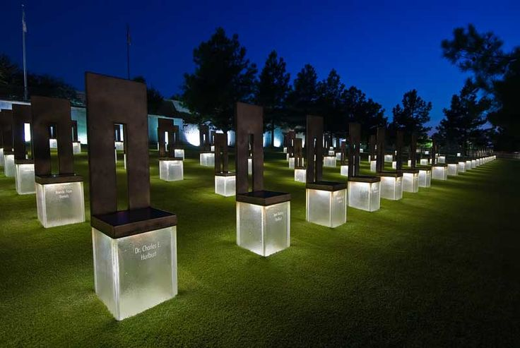 Oklahoma City Bombing Memorial and Museum. 168 chairs each represents a life lost.