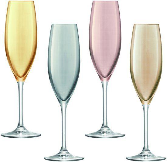 bol.com | L.S.A. Polka Champagneflutes - Set van 4 Stuks - Metallic - Assorti |...