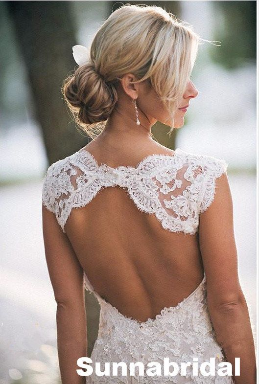 Ivory open back Aline lace chapel train wedding by Sunnabridal, $395.00