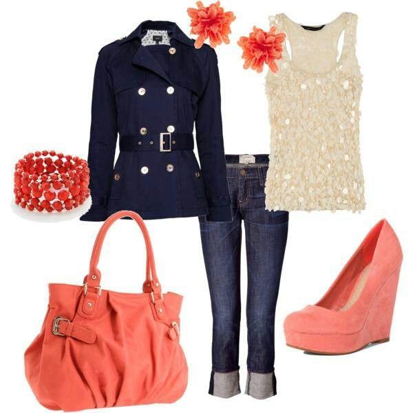 spijkerbroek/donkerblauw broek, creme blouse en koraal jasje