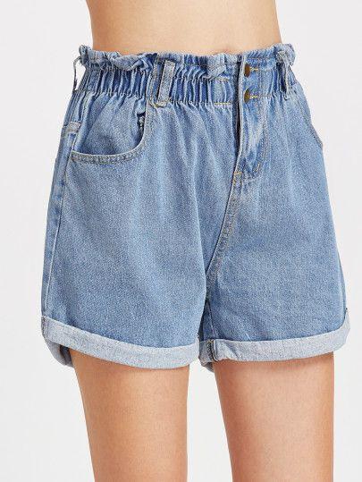 Shirred Elastic Waist Rolled Hem Denim Shorts