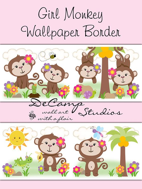 Girl Monkey Wallpaper border wall decals for baby girl jungle nursery, children's room decor, or any home decorating ideas #decampstudios