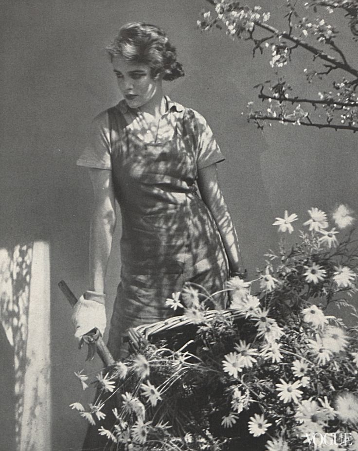 Beaton is responsible for this photograph of Rosamond Pinchot, taken in 1931, when post-crash America was in the midst of a gardening craze, which swept up even well-born actresses like this one, who once played the lead in A Midsummers Night Dream. On her island in Maine, Vogue writes of the star, Pinchot spends most of her time digging and grubbing in rough blue linen overalls, old blue lisle polo shirt, and big cotton gloves.