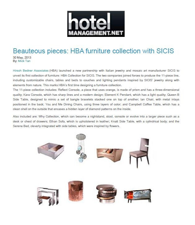 Check out this article featuring HBA Furniture Collection with SICIS by  @HotelManagement.net! #SICIS #HBA #Furniture #Interiors #Art