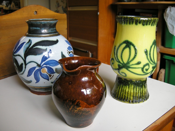 L-R: Honor Hussey, Butley Pottery. Boscastle Pottery, Cornwall. Scheurich Pottery, W. Germany.