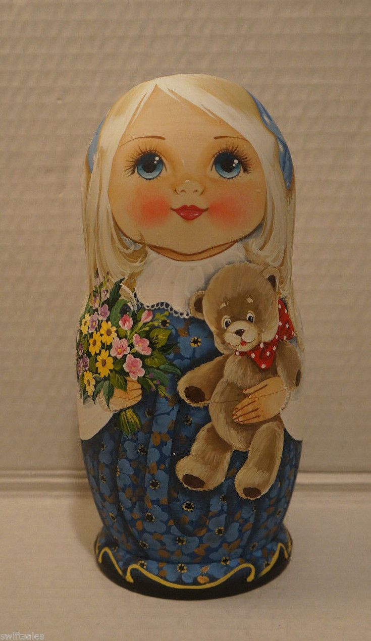 Big Russian Matryoshka - Wooden Nesting Dolls - 7 Pieces Unique Coloring #3 | eBay