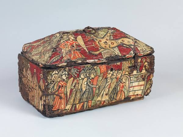 Painted wood box with the Legend of Guilhem of Orange, about 1200–1225. Southern France. Walnut, paint, and iron mounts. Private Collection, United Kingdom