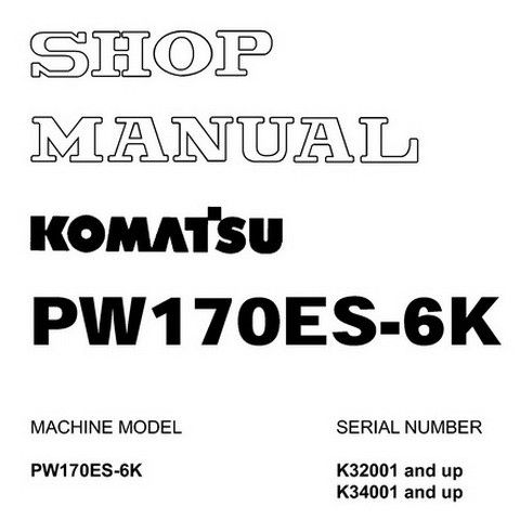 Komatsu PW170ES-6K Hydraulic Excavator Service Repair Shop