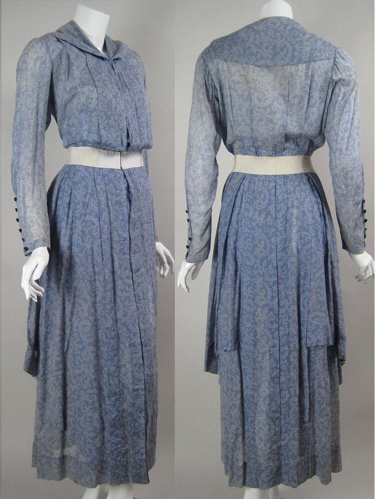 Vintage Early 1900s Teens EDWARDIAN DAY DRESS Powder Blue Cotton Voile White Dotted Print Pleats Polka Dot Titanic Era Art Nouveau Tea Dress.