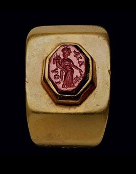 A ROMAN GOLD AND RED JASPER FINGER RING CIRCA 1ST CENTURY A.D.