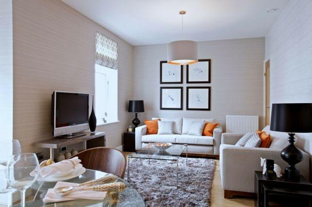 einrichten beige creme Sofa Shaggy Teppich Wohnideen Wohnzimmer