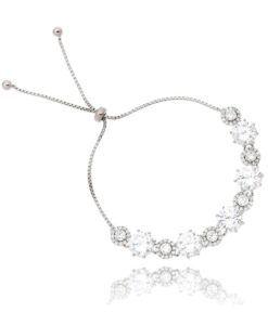 pulseira prata ajustável com zirconias cristais semi joias online