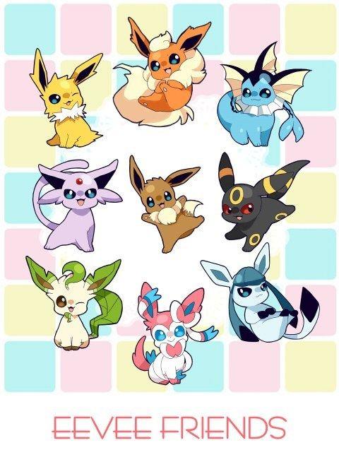 pokemon, jolteon, flareon, vaporeon, espeon, eevee, umbreon, leafeon, sylveon, glaceon--- The gang's all here!!