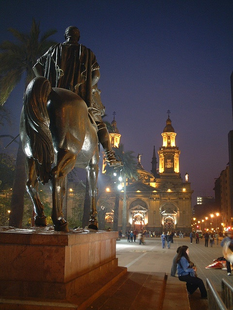 Plaza de Armas en Santiago, Chile. Fui a la Catedral Metropolitana de Santiago. It was built in 1747 and is a beautiful place built for God. En la Plaza tambien hay una estatua de Pedro de Valdivia, un soldado y conquistador de Chile espanol. It was at the church that I learned that James in Spanish is Santiago.