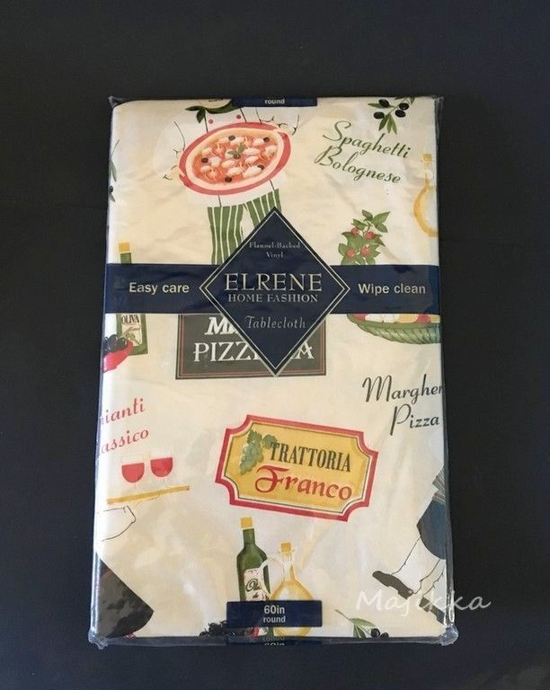 "ELRENE FLANNEL-BACKED VINYL TABLECLOTH The Pizzeria  60"" Round SEATS 4 #Elrene"