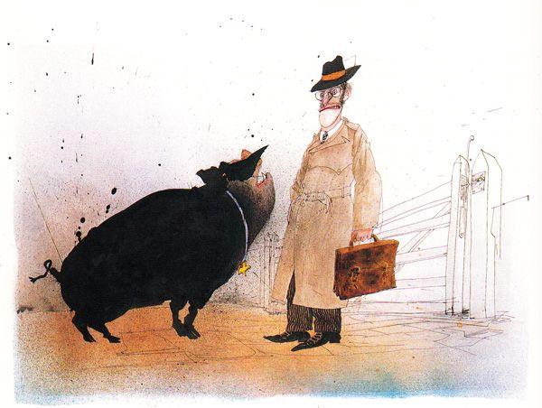 "Ralph Steadman's ""Animal Farm"" Illustrations: animalfarm_steadman14.jpg"
